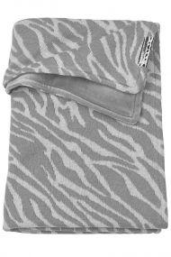 Meyco ledikantdeken zebra velvet grijs 100x150 cm