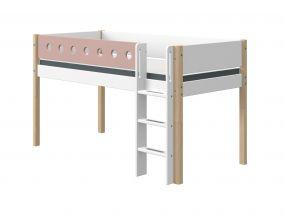 Flexa White Halfhoogslaper Blank 90 x 190 cm + Rechte Ladder + Uitvalbeveiliging Roze