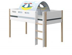 Flexa Nor Halfhoogslaper Rechte Ladder + Speeltent Transport 90 x 200 cm