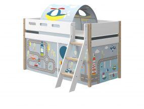 Flexa Nor Halfhoogslaper Schuine Ladder + Speelgordijn + Speeltent Transport 90 x 200 cm