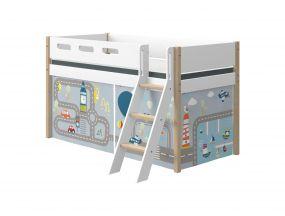Flexa Nor Halfhoogslaper Schuine Ladder + Speelgordijn Transport 90 x 200 cm