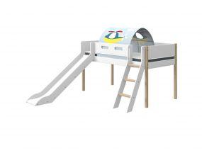 Flexa Nor Halfhoogslaper Rechte Ladder + Glijbaan + Speeltent Transport 90 x 200 cm