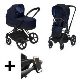 Cybex Kinderwagen Priam Pack Indigo Blue Black Frame + Gratis Telefoonhouder