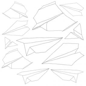 Sebra Muurstickers Papieren Vliegtuigjes - Wit