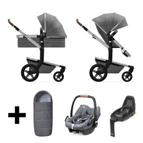 Joolz 2 In 1 Kinderwagen Day+ Radiant Grey + Maxi Cosi Autostoel + Base + Voetenzak
