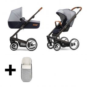 Mutsy Kinderwagen 2 in 1 I2 Urban Nomad Black White Blue + Gratis Voetenzak