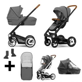 Mutsy Kinderwagen Icon 2 in 1 Balance Granite Black Reflective + Gratis Voetenzak + Adapters + Regenhoezen