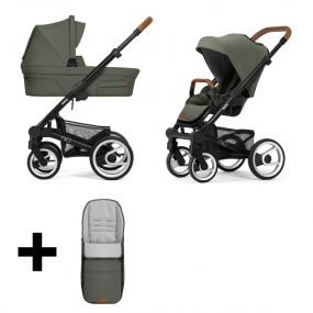 Mutsy Kinderwagen Nio 2 in 1 Adventure Sea Green Black + Gratis Voetenzak