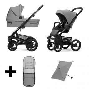 Mutsy Kinderwagen Nio 2 in 1 Journey Ice Grey Black + Gratis Voetenzak + Parasol