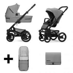 Mutsy Kinderwagen Nio 2 in 1 Journey Ice Grey Black + Gratis Voetenzak + Verzorgingstas