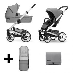 Mutsy Kinderwagen Nio 2 in 1 Journey Ice Grey Standard + Gratis Voetenzak + Verzorgingstas