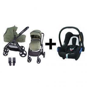 Kinderwagen 2in1 X-GO Green + Maxi Cosi Cabriofix Autostoel Black Grid
