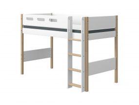 Flexa Nor Halfhoogslaper Verhoogd Met Rechte Ladder 90 x 190 cm