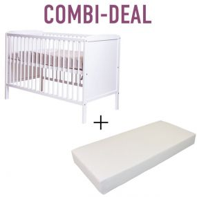 Cabino Baby Bed Dicht Wit + Matras