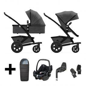 Joolz Kinderwagen 3 in 1 Geo2 Awesome Anthracite + Autostoel + Adapterset + Base + Voetenzak