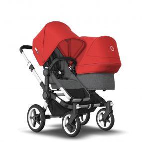 Bugaboo Duo Kinderwagen Donkey3 Alu - Grey Melange - Red